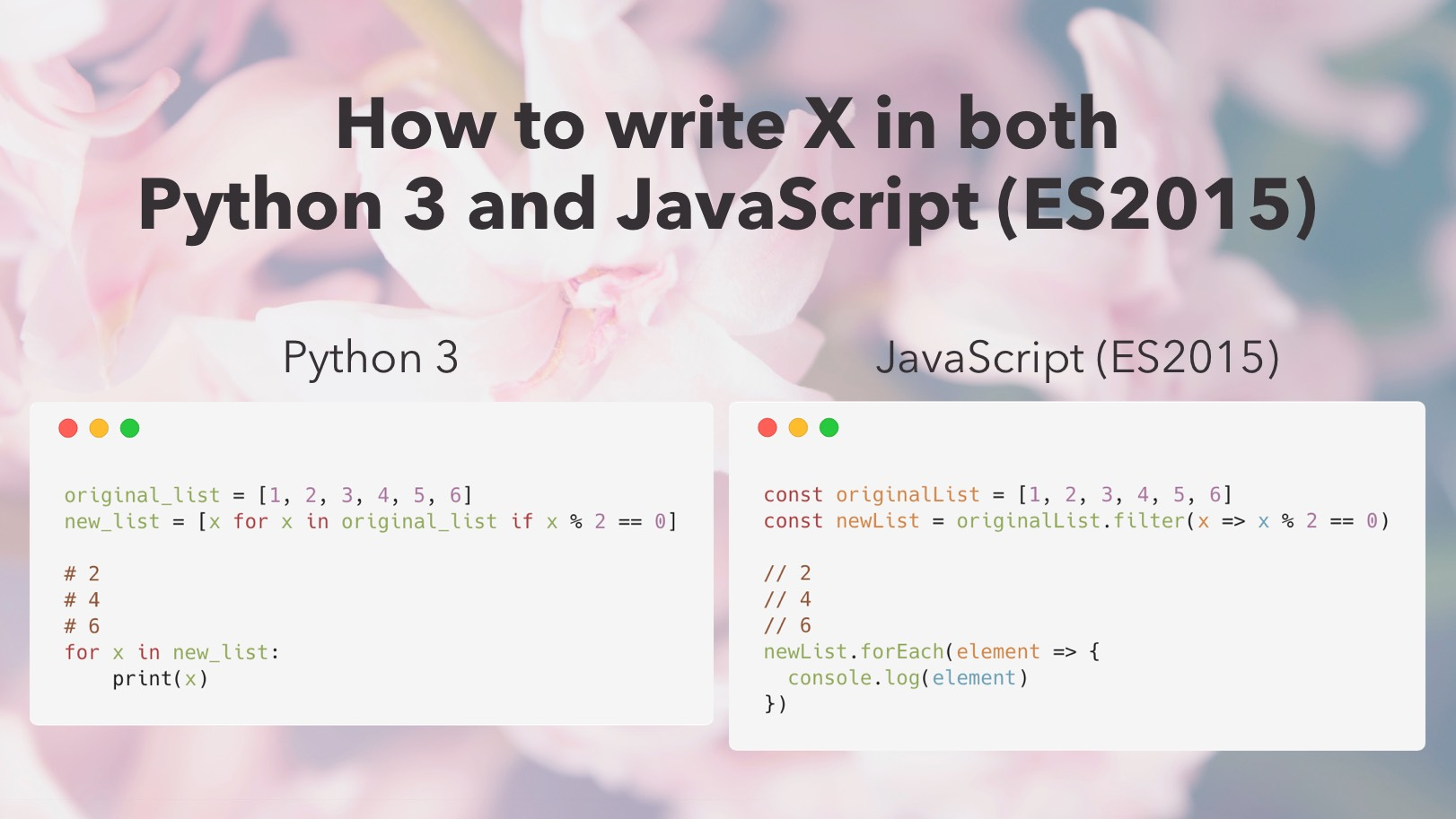 How to write X in both Python 3 and JavaScript (ES2015)